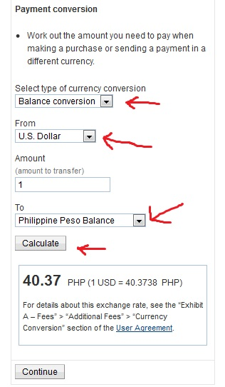 How to convert USD to PHP Paypal funds currency converter