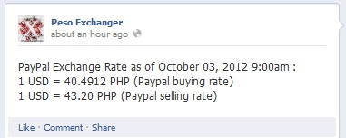 Paypal selling rate