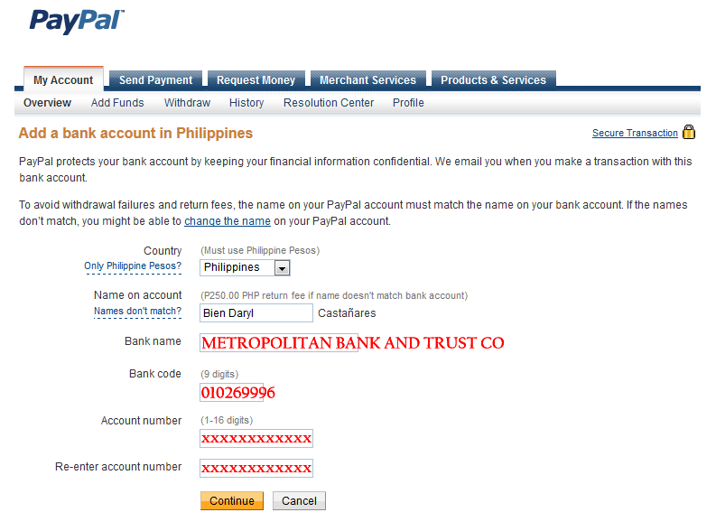 Verify PayPal account using Metrobank