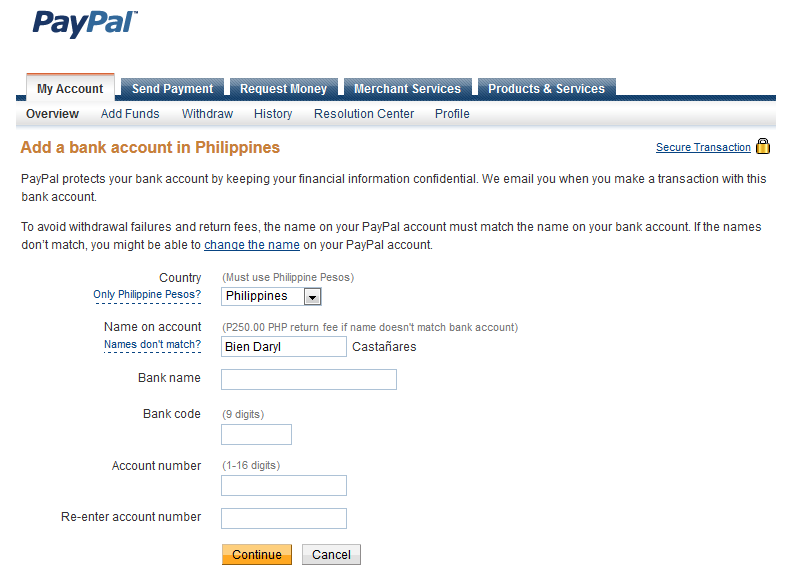 add your bank account to PayPal