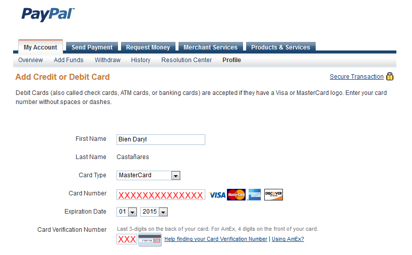 Verifying PayPal account using BPI ePrepaid MasterCard